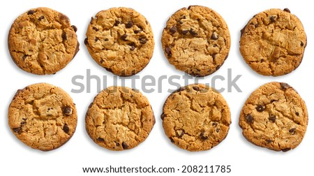Collection of chocolate chip cookies isolated and viewed from above. - stock photo