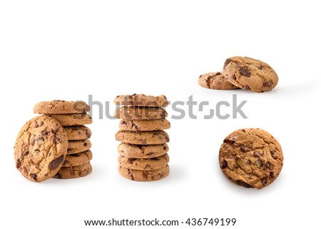 Collection of Chocolate Chip Cookies, isolated on white background, clipping path