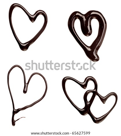 collection of  chocolate syrup heart shapes on white background. each one is shot separately - stock photo