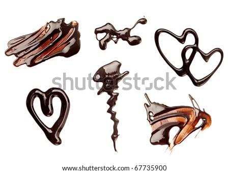 collection of chocolate syrup stains and chocolate pieces on white background. each one is shot separately - stock photo