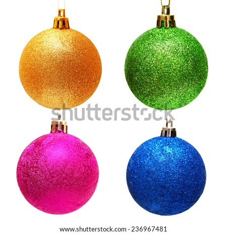 Collection of christmas balls isolated on white background - stock photo