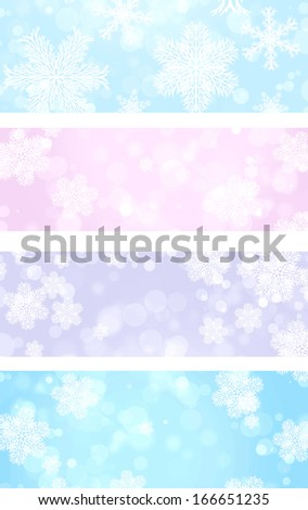 Collection of Christmas banners with snowflakes