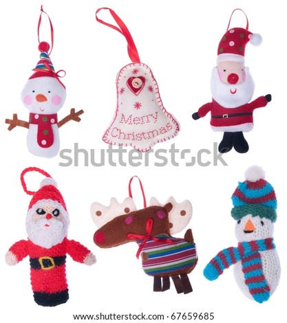 collection of Christmas decoration to hang on your tree (isolated on white background)