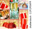 Collection of Christmas gifts, decorative toy balls and flutes with champagne - stock photo