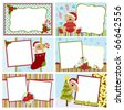 Collection of Christmas greetings cards, postcards or photo frames - stock vector