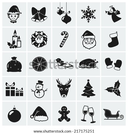 Collection of 25 Christmas icons. Raster illustration. - stock photo