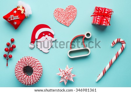 Collection of Christmas objects isolated on cyan blue background - stock photo