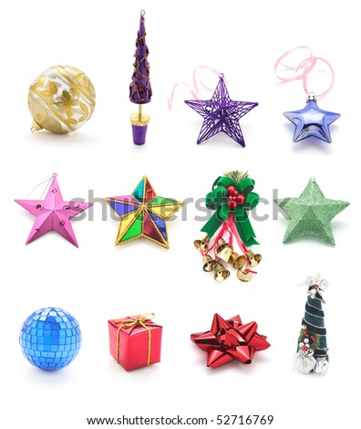 Collection of Christmas Ornaments on White Background - stock photo