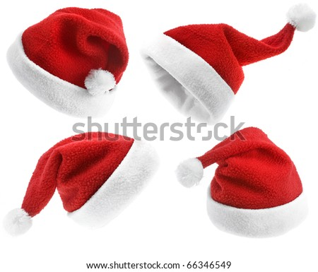 Collection of  Christmas Santa Claus hat isolated on white background - stock photo