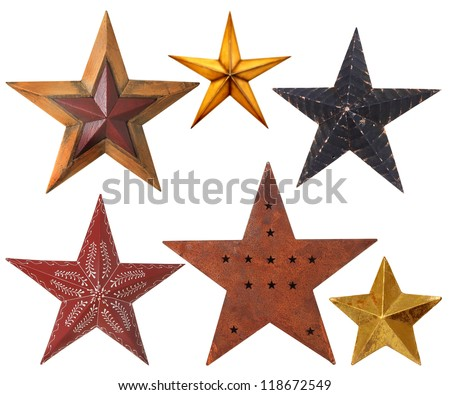 Collection of Christmas star ornaments, studio isolated on white. - stock photo