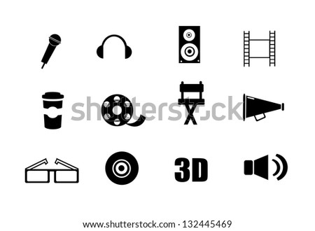 Collection of cinema, movie icons isolated on white background. - stock photo