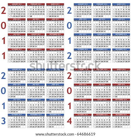 Collection of classic calendar templates for years 2011 - 2014 (raster version) - stock photo