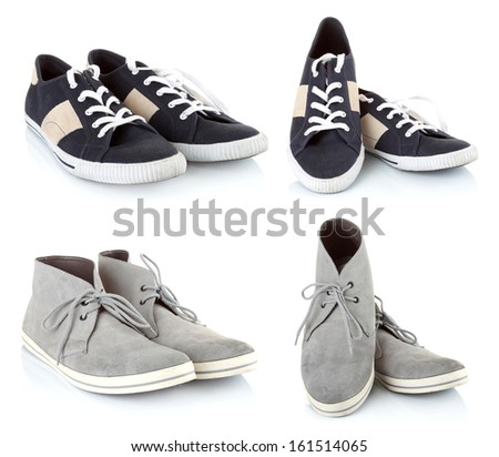 collection of Classic sneakers shoes isolated on white background - stock photo