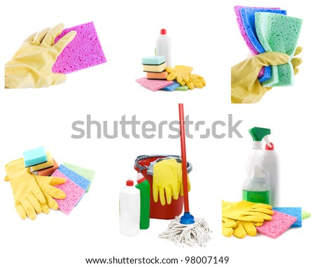 Collection of cleaning products and tools on white - stock photo