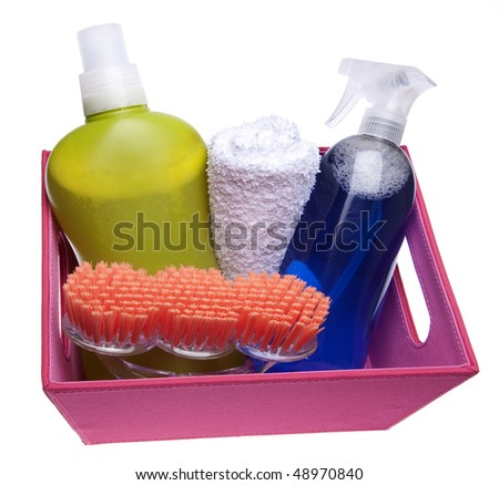 Collection of cleaning supplies for annual spring cleaning.  Isolated on white with a clipping path.