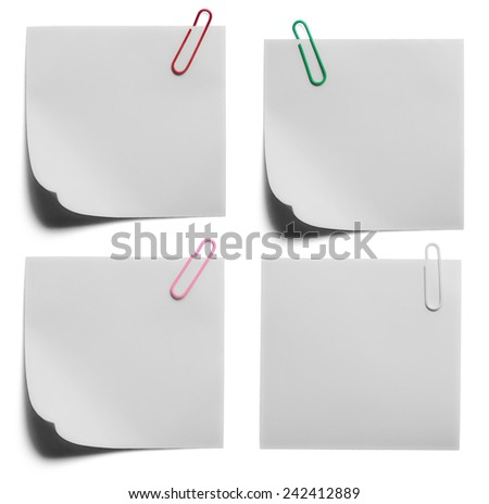 collection of clip and paper on white background
