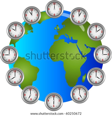 Collection of clocks showing each hour of the day circling a globe illustration - stock photo