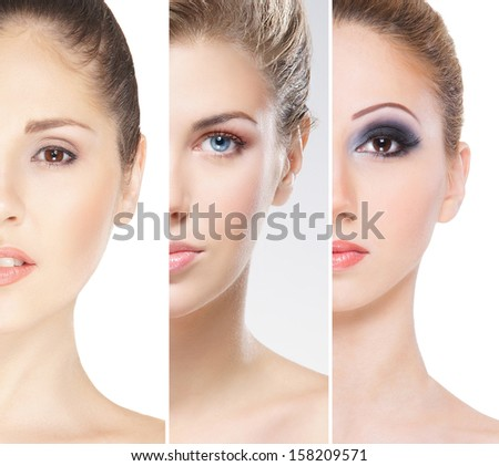 Collection of close-up portraits of young, beautiful and healthy women - stock photo