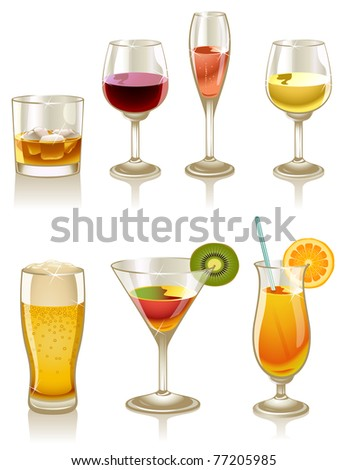 Collection of cocktails and drinks - stock photo