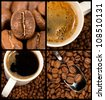 Collection of coffee and coffee beans. Four different close up images. - stock photo