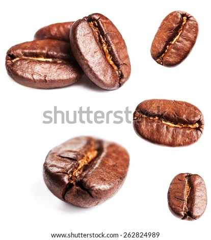 Collection of Coffee beans isolated on white background, closeup, macro - stock photo