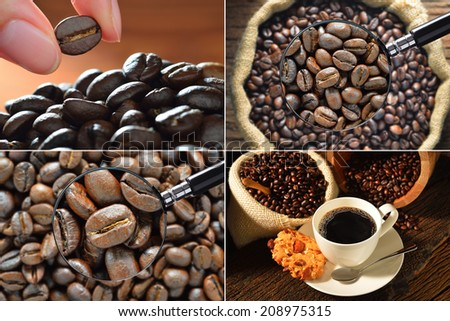 Collection of coffee cup and coffee beans - stock photo