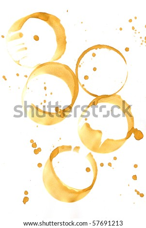 Collection of coffee splashes and stains isolated on white background. - stock photo