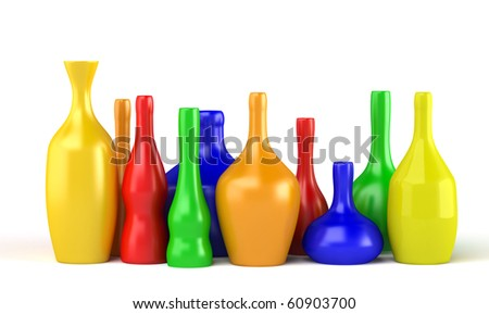 Collection of color bottles