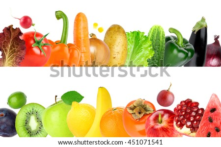 Collection of color fruits and vegetables on white background. Healthy food concept. Fresh food
