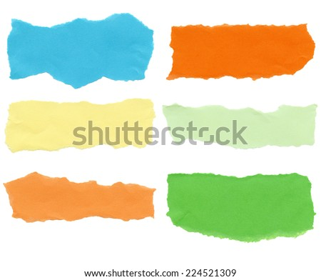Collection of color paper tears, isolated on white background.  - stock photo