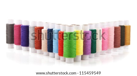 collection of color thread isolated on white background - stock photo