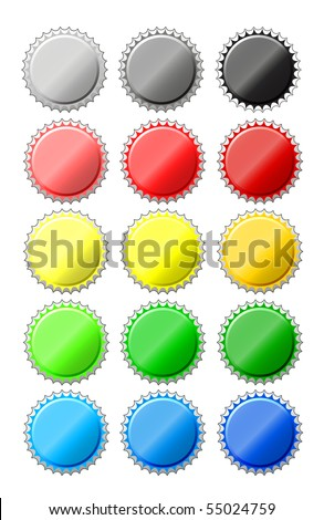collection of colored bottle caps - stock photo