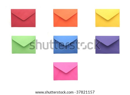 Collection of Colored Envelopes on White Background - stock photo