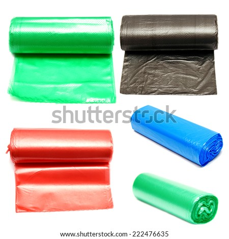 Collection of colored garbage bags isolated on a white background - stock photo