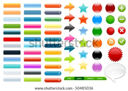 Collection of colored, glossy web elements.