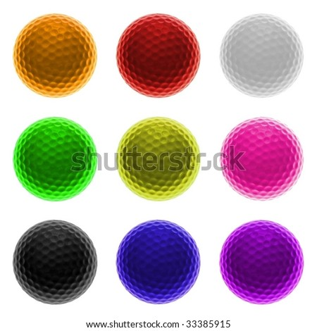 Collection of colored Golf-balls isolated on white background