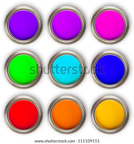 Collection of colored paints cans, up view, isolated on white background - stock photo