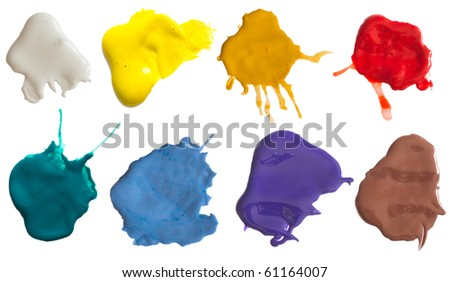 collection of colored splashes - stock photo