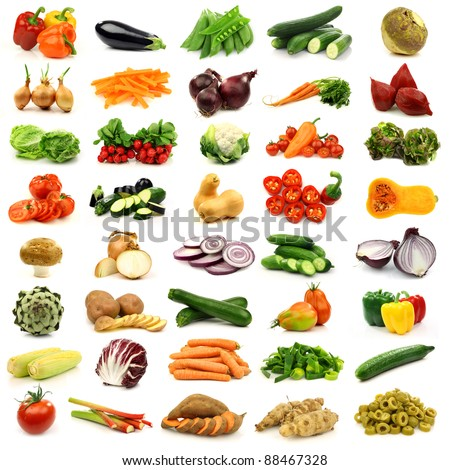collection of colorful and fresh vegetables