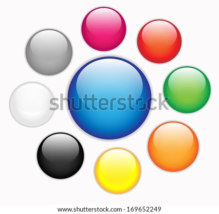 Collection of colorful blank round glossy web buttons - stock photo