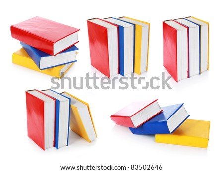 collection of colorful book formation. isolated on white background - stock photo