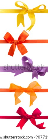 collection of colorful bows isolated - stock photo