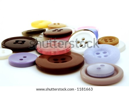 Collection of colorful buttons - isolated background - stock photo