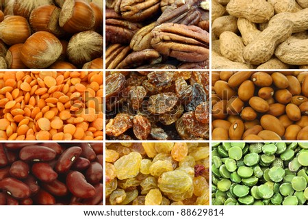 collection of colorful dried seeds and nuts