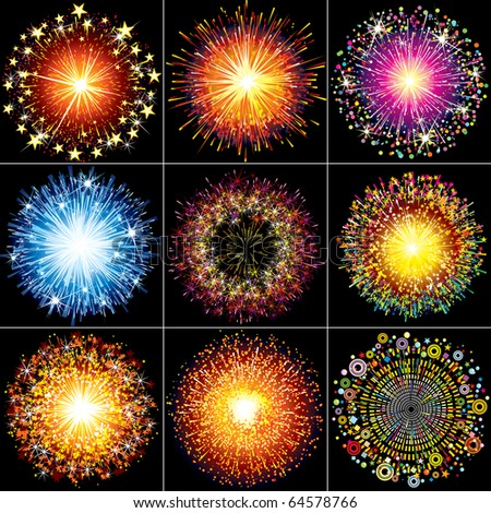 Collection of Colorful Festive fireworks, sparklers, salute and petards explosions - design elements isolated over black background - stock photo