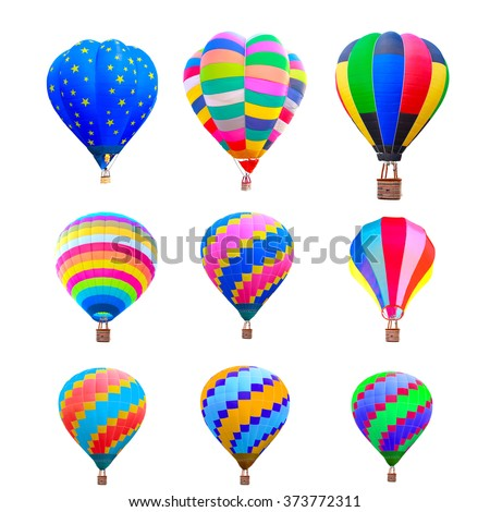 collection of colorful hot air balloon isolate on white background with clipping path - stock photo