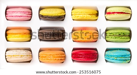 Collection of colorful macaroons in box set. - stock photo