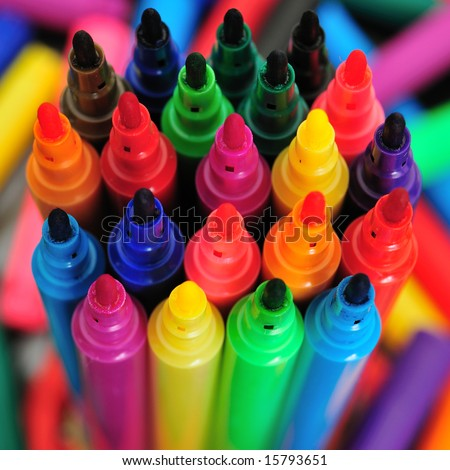 Collection of colorful marker pens. - stock photo