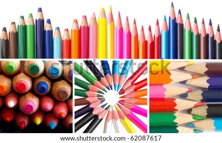 collection of colorful pencils - stock photo