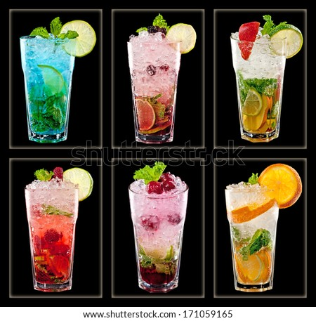 Collection of colorful tropical cocktails  isolated on black background